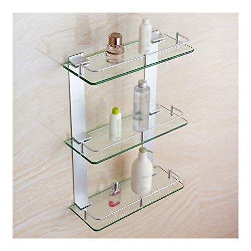 QingH yy Badregal schmal Triple-Glas Bad Regal Platzsparend Regal Aluminium Dusche Storage Rack Badezimmer Regal Nichtrostender Drilling 20~60 cm YueB A-14 (Size : 400mm)