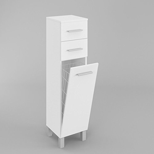 Badmöbel Mit Wäschekorb SN5 In Weiß Matt